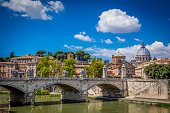 Sant Angelo Bridge with St Peters Basilica in the background, Rome, Italy