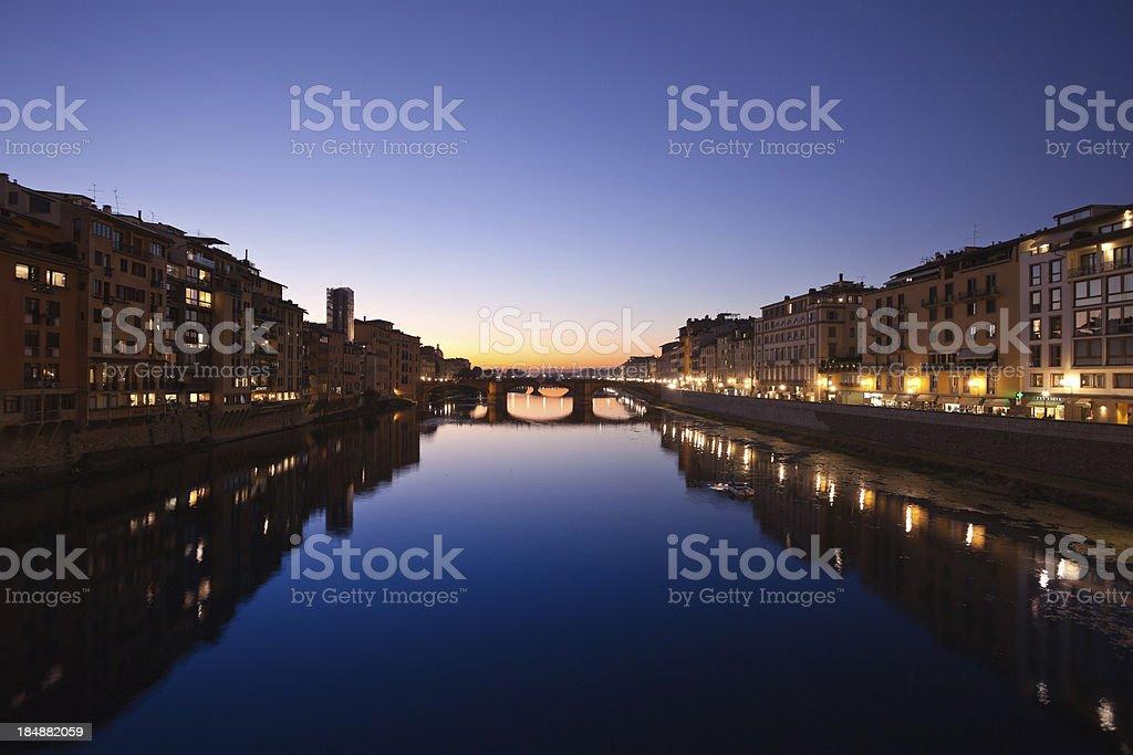 Ponte Santa Trinità in Florence at Dusk, Italy royalty-free stock photo