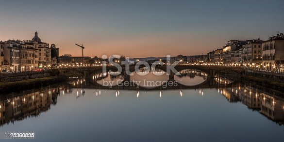A view of San Frediano and Ponte Santa Trinita. Florence, Italy