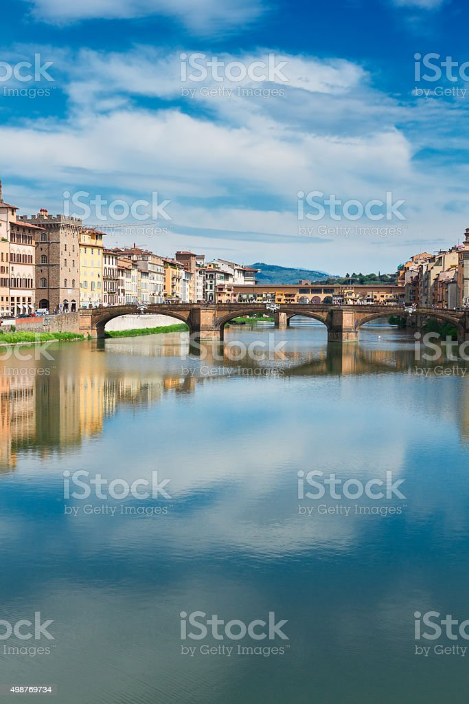 Ponte Santa Trinita bridge over the Arno River, Florence stock photo