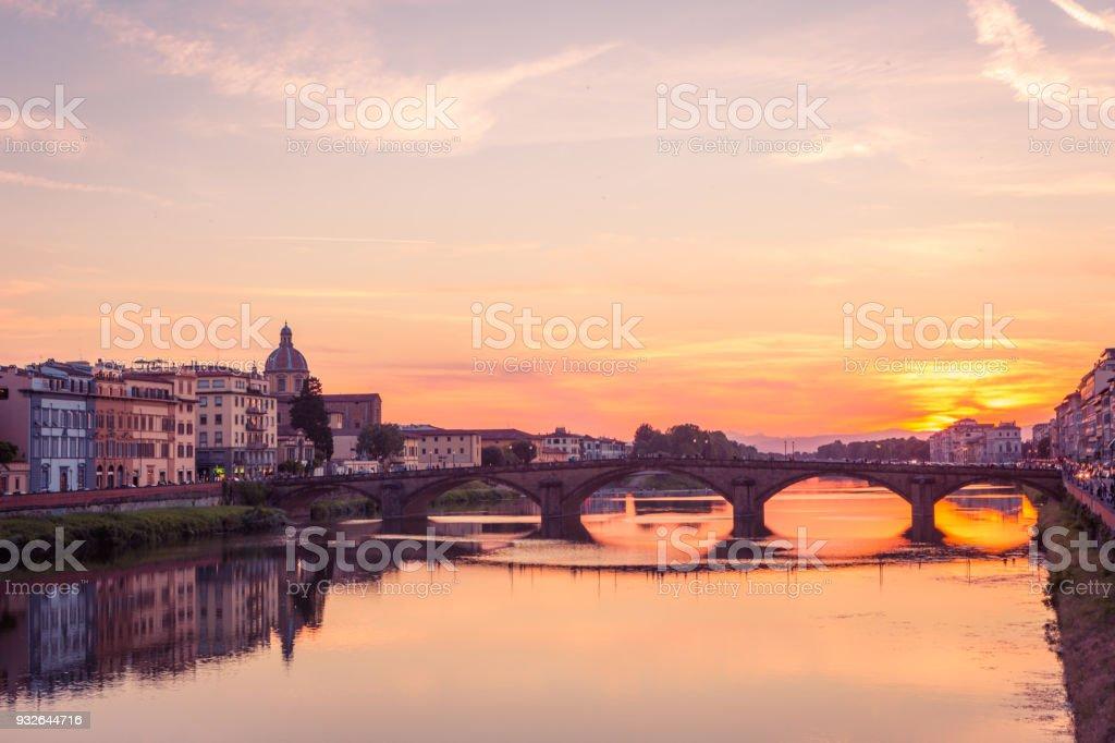 Ponte Santa Trinita (St Trinity Bridge) sunset. Florence, Tuscany, Italy, Europe stock photo