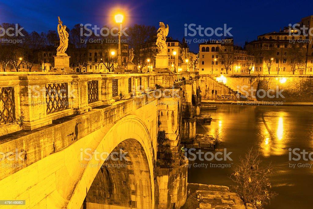 Ponte Sant'Angelo in Rome stock photo