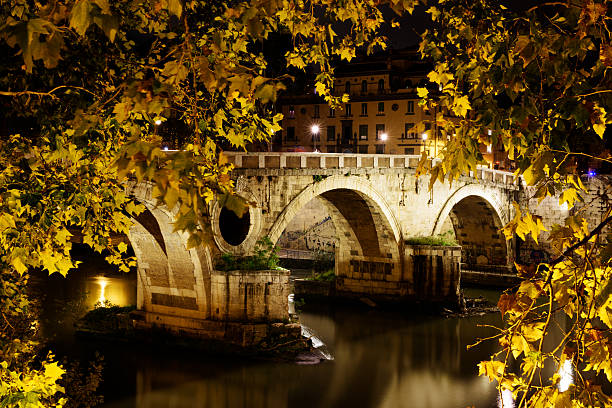 Ponte Sisto across River Tiber at night, Rome stock photo