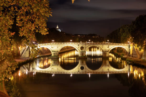 Ponte Sisto across River Tiber, Rome stock photo