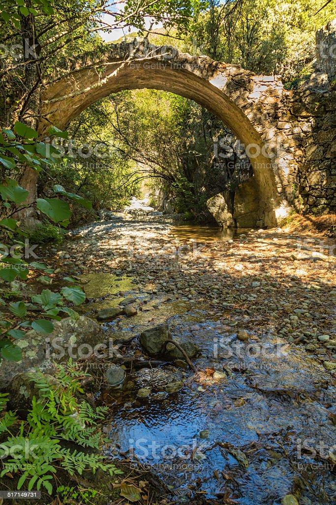 Ponte Sottano bridge near Corscia in Corsica stock photo