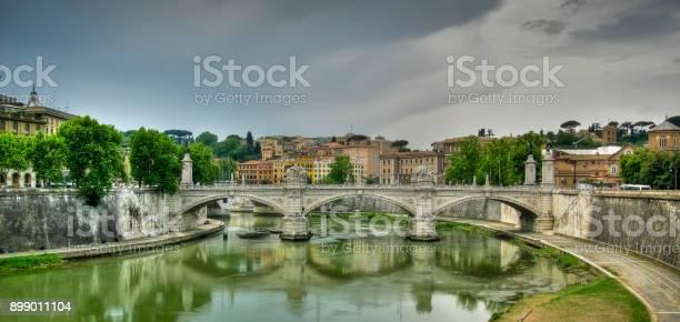 Quaint shot of the Ponte Umberto I bridge over the river Tiber, Rome, Italy
