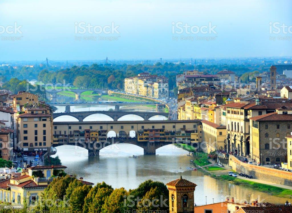 Ponte Vecchio aerial view, Florence stock photo
