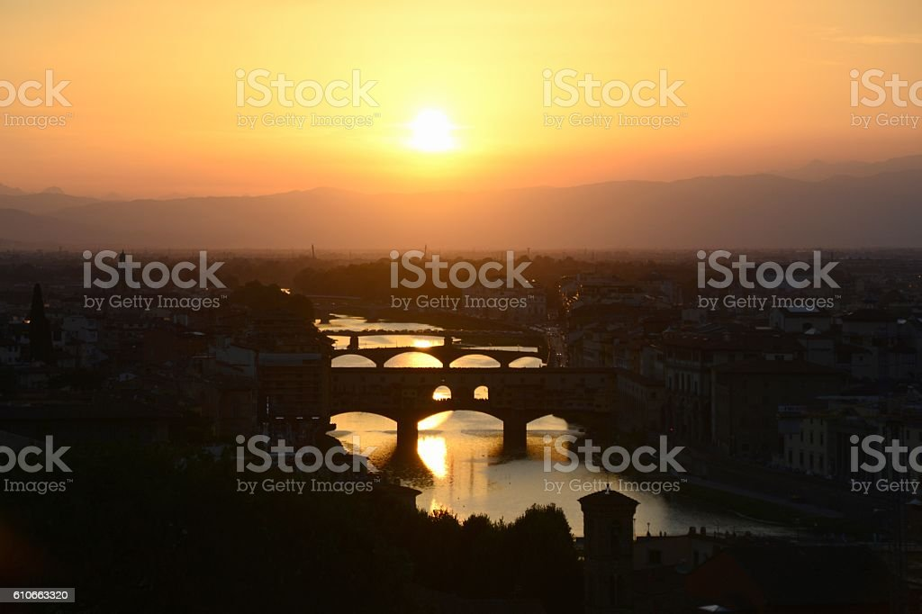 Ponte Vecchio and Arno river at sunset, Florence, Italy stock photo