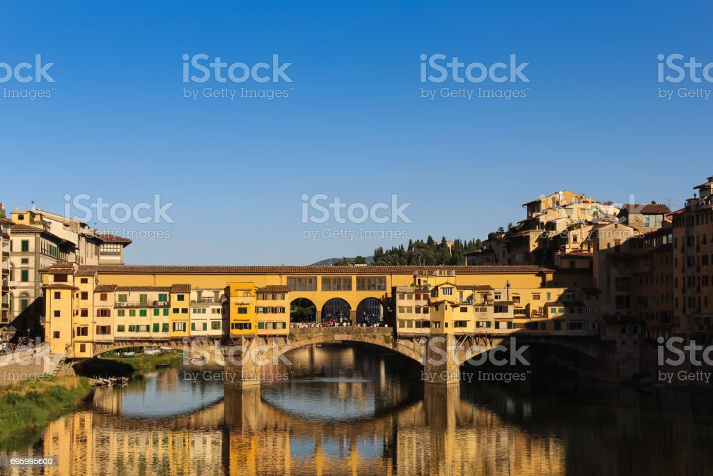 Ponte Vecchio and  Arno River in the Morning, Florence, Italy. stock photo