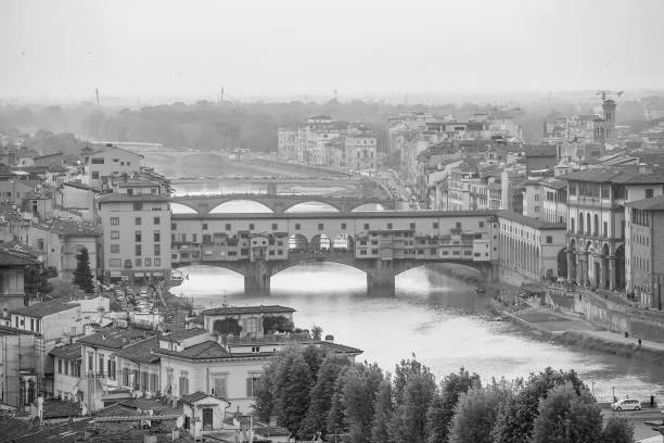 Ponte Vecchio and Florence city downtown skyline cityscape of  Italy stock photo
