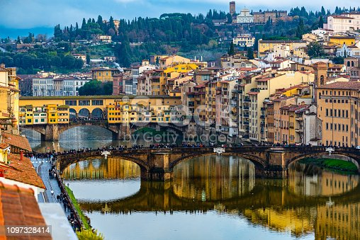 Aerial view of the Ponte Vecchio and Ponte Santa Trinita across the Arno River, Florence, Italy