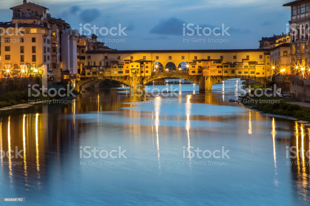 Ponte Vecchio at dusk, Florence, Italy stock photo