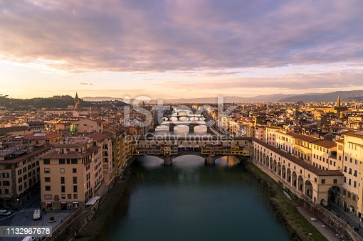 Aerial view of Florence at Sunset - Cityscape - Italy - 2019