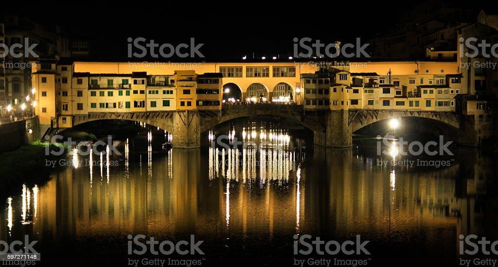 ponte vecchio at night royalty-free stock photo