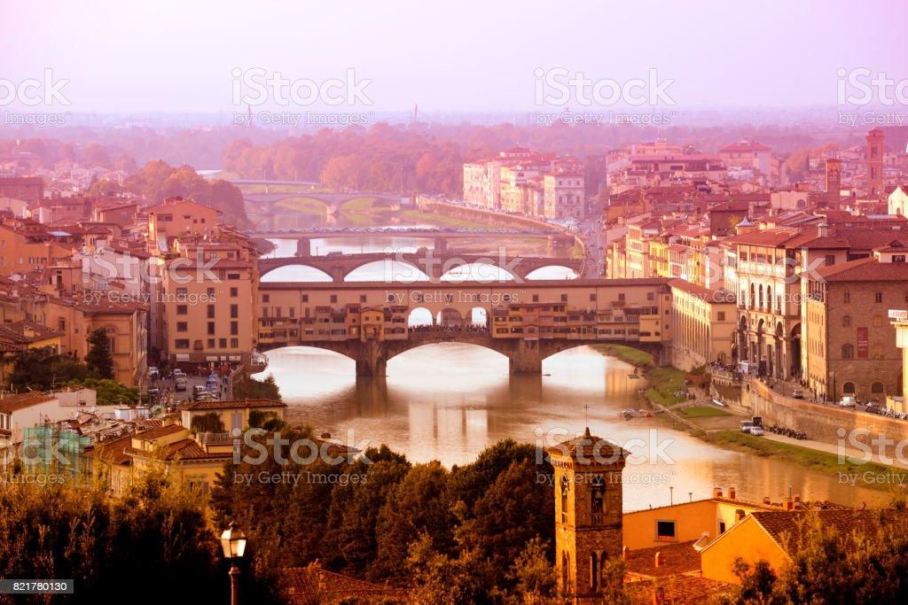 Ponte Vecchio at sunset, Florence stock photo