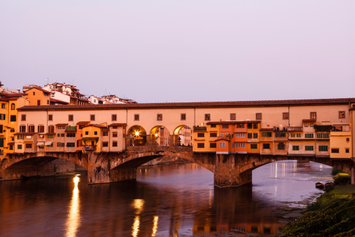 Ponte Vecchio Bridge Across Arno River in Florence at Morning