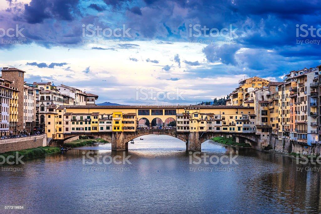 Ponte Vecchio bridge in Florence stock photo