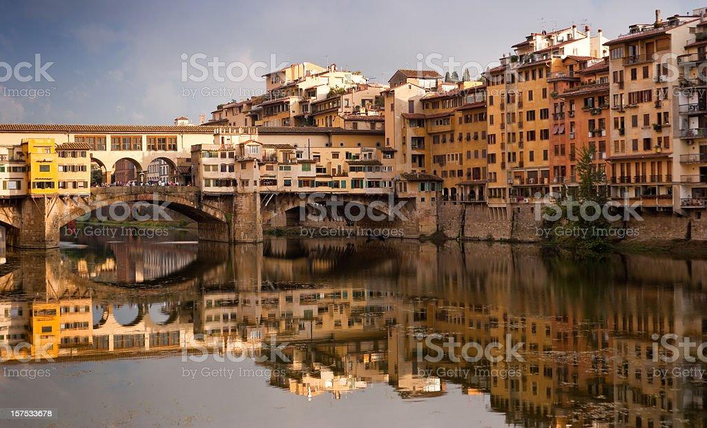Ponte Vecchio Bridge over River Arno in Florence, Italy stock photo