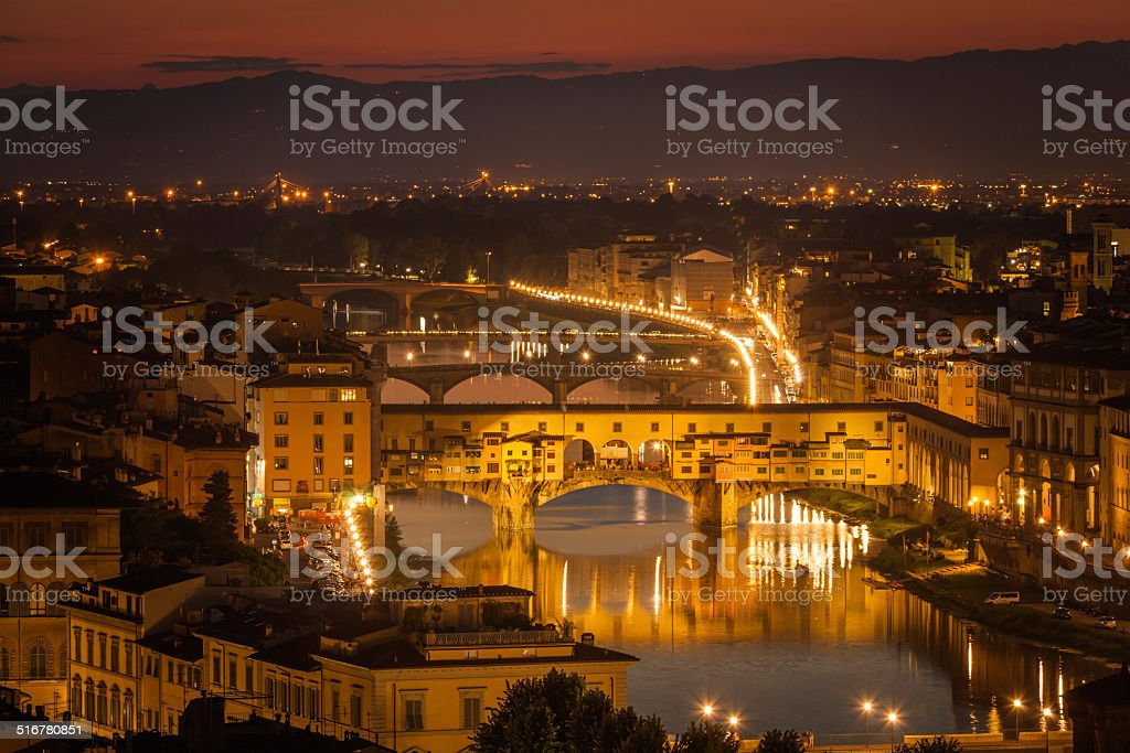 Ponte Vecchio, Florenc at night stock photo