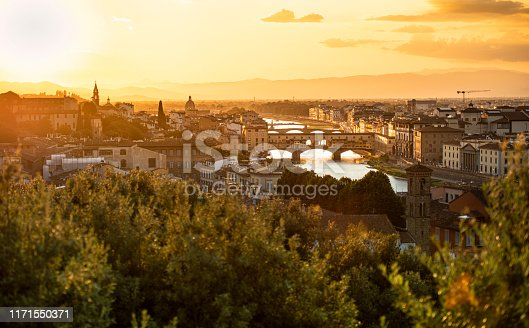 Florence (Firenze), Italy, Tuscany, Europe, Ponte Vecchio in the evening in summer