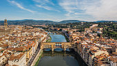 Ponte Vecchio in Florence. Picturesque medieval arched river bridge with Roman origins