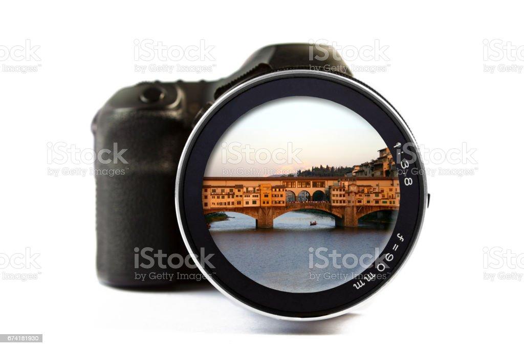 Camera A Ponte.Ponte Vecchio In Florence Seen Through A Lens Of A Camera Stock
