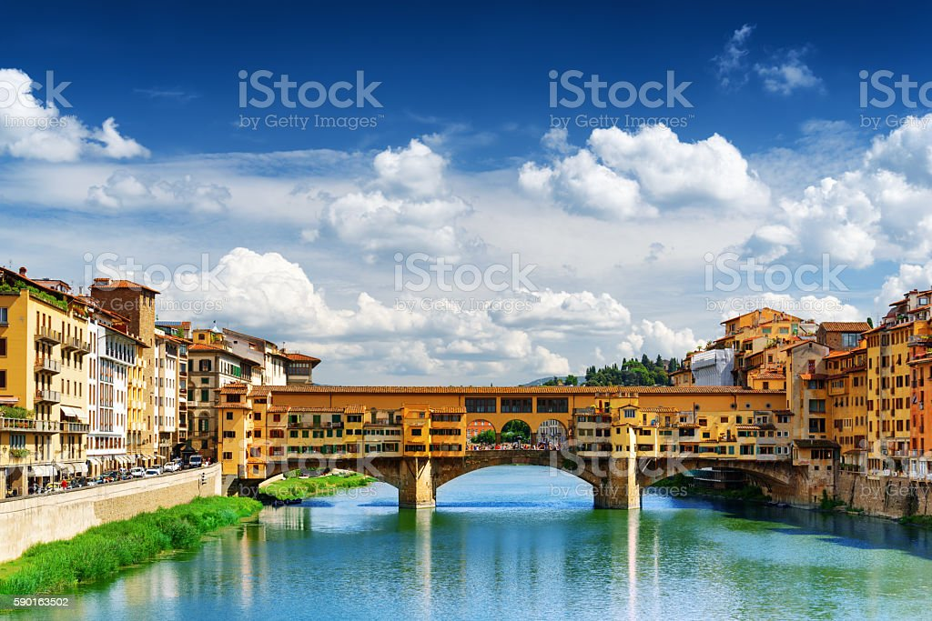 Ponte Vecchio over the Arno River, Florence, Italy stock photo