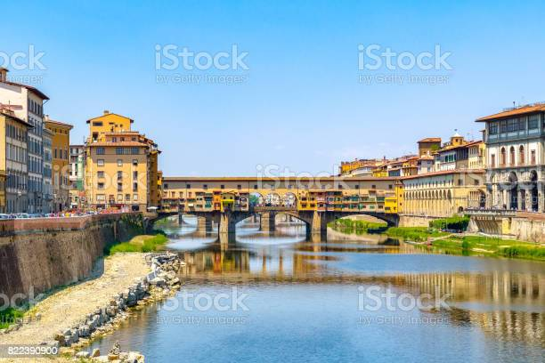 Ponte Vecchio (Old Bridge) over the Arno River in Florence, Italy against a cloudless sky
