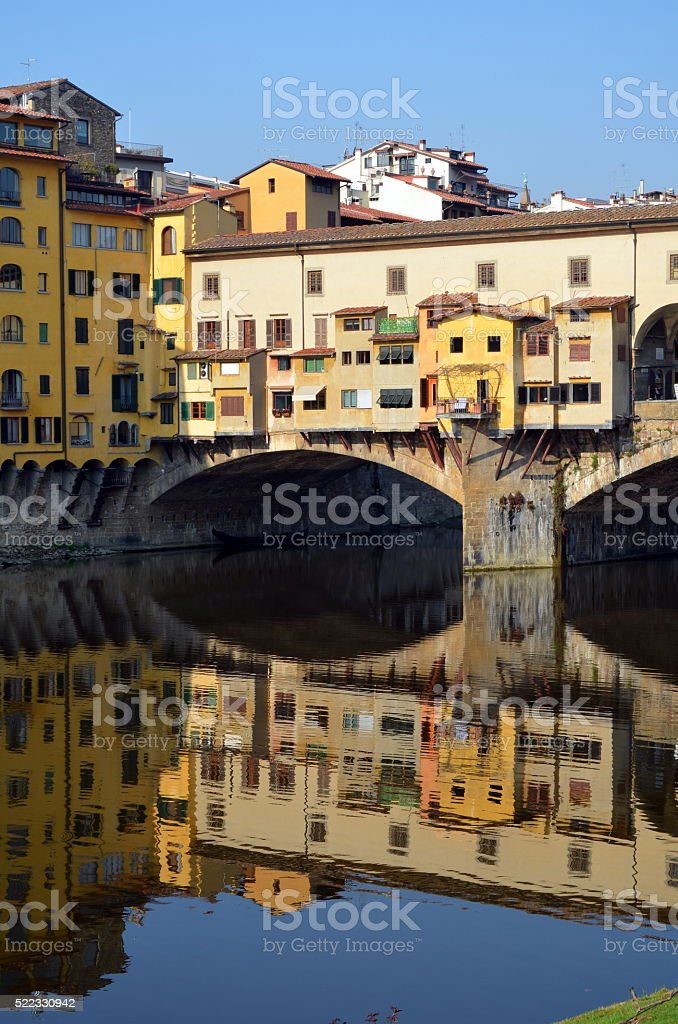Ponte Vecchio reflections stock photo