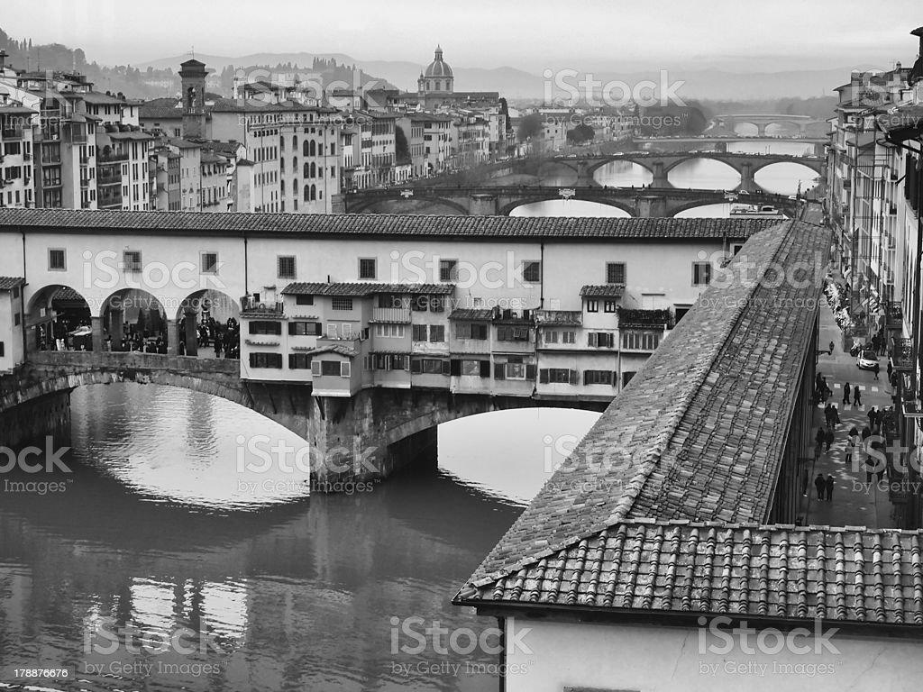 Ponte Vecchio & river Arno , Florence royalty-free stock photo
