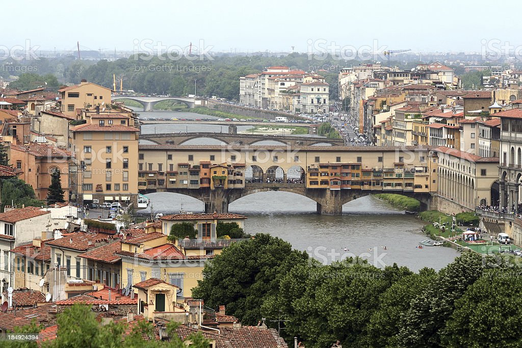 Ponte Vecchio seen from Piazzale Michelangelo, Florence Italy stock photo