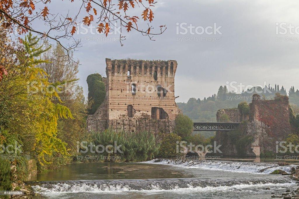 Ponte Visconteo in  Valeggio sul Mincio, stock photo
