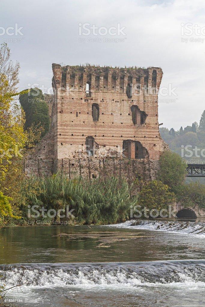 Ponte Visconteo in  Valeggio sul Mincio stock photo