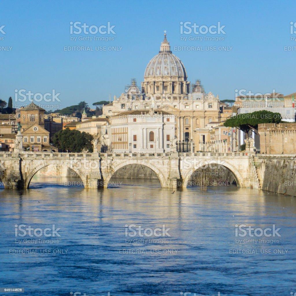Ponte Vittorio Emanuele II and St. Peter's Basilica stock photo