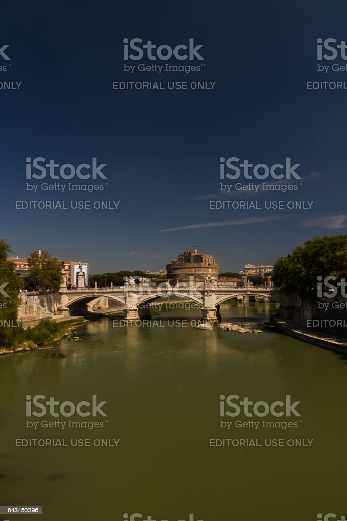 Ponte Vittorio Emanuele II over Tiber, Castel Sant Angelo stock photo