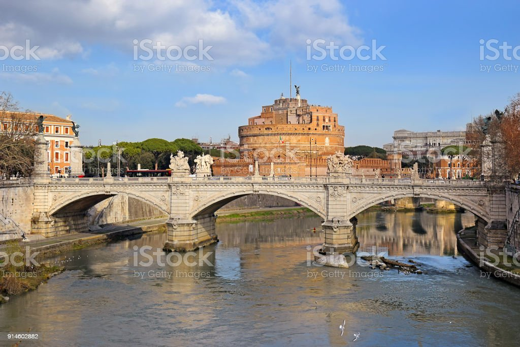 Ponte Vittorio Emanuele II, Rome stock photo