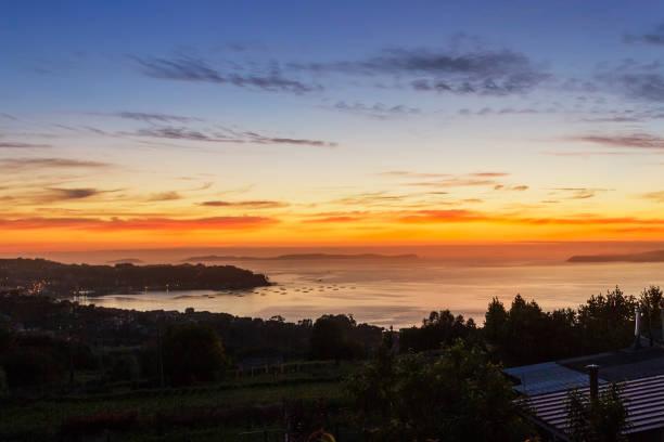 Pontevedra estuary at twilight stock photo
