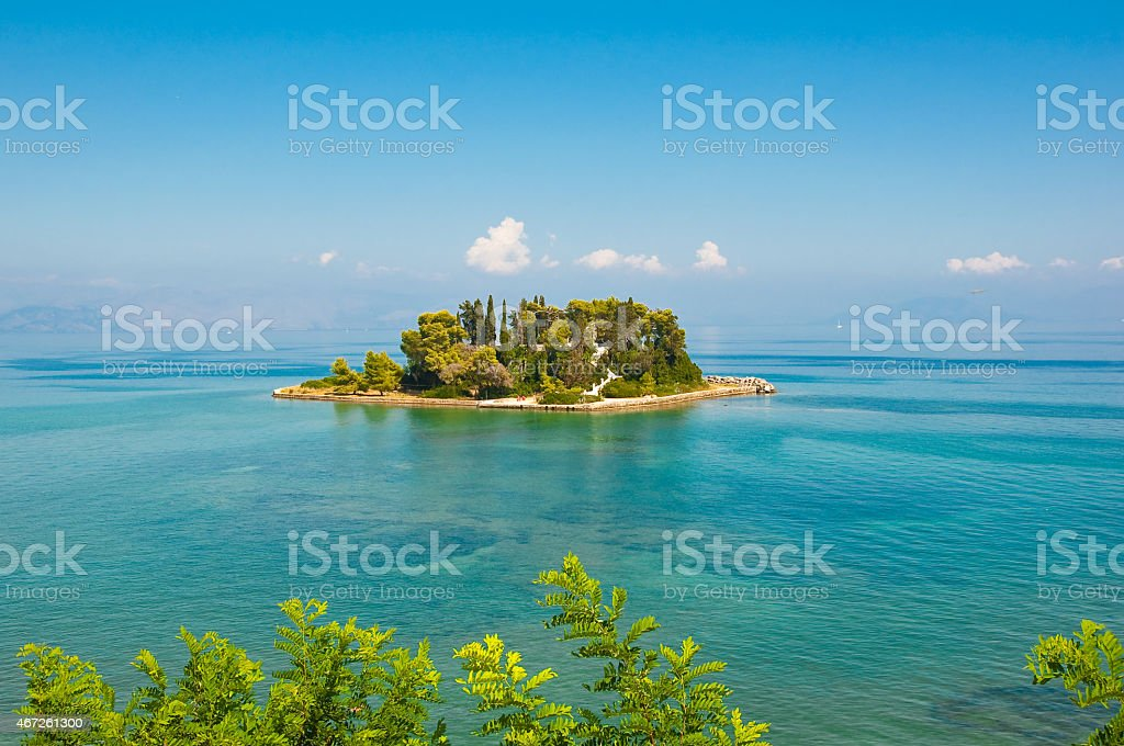 Pontikonisi island also known as Mouse island. Corfu, Greece. stock photo