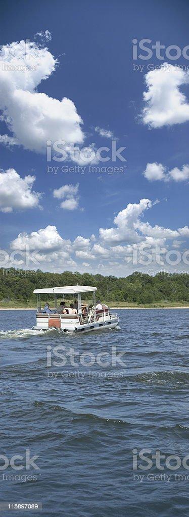 pontoon boat on Truman Lake stock photo