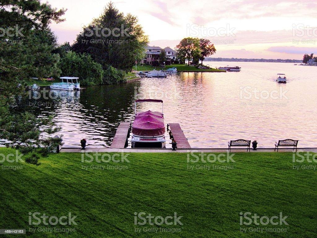Pontoon on a Lake stock photo