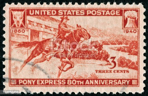 Cancelled Stamp From The United States Commemorating The 80th Anniversary Of The Pony Express.