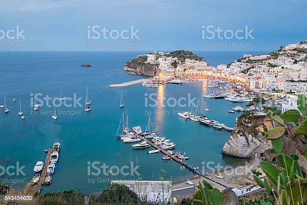 Photo of Ponza scenic view at blue hour.