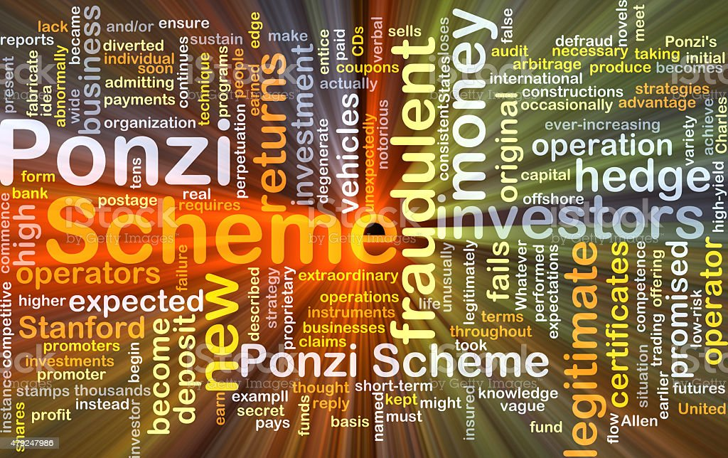 Ponzi scheme background concept glowing stock photo