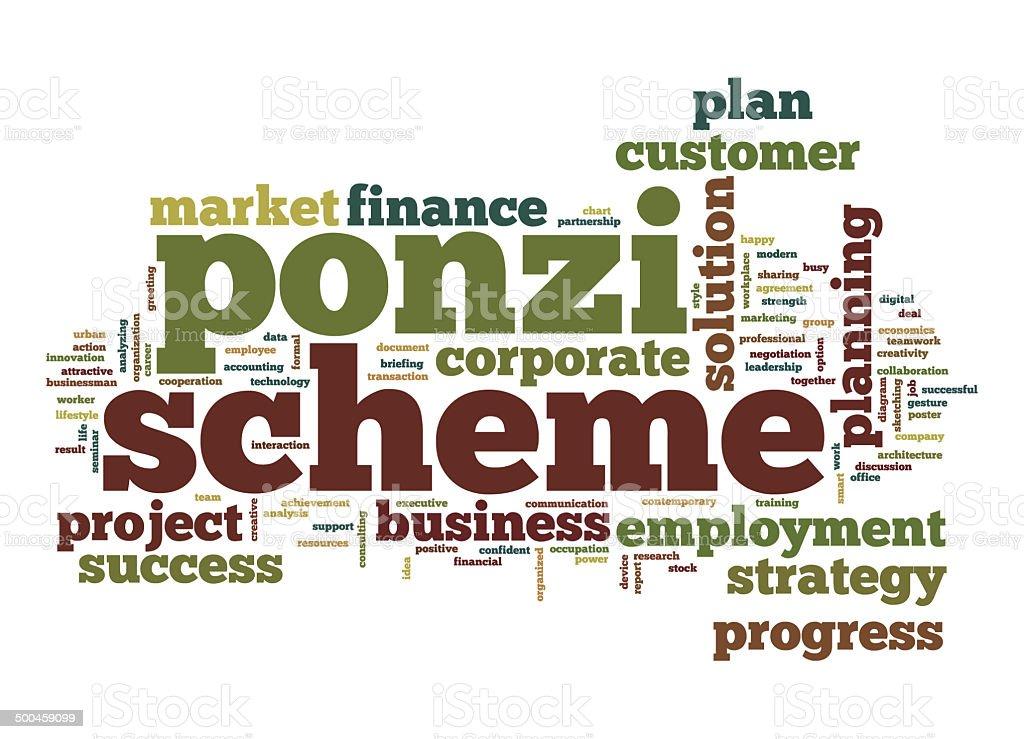 Ponzi scheme word cloud stock photo