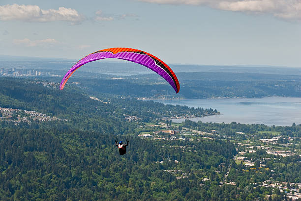 Paragliding Toward Lake Sammamish stock photo