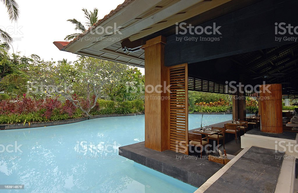 pool and asian pavilion on tropical resort (Bali, Indonesia) royalty-free stock photo
