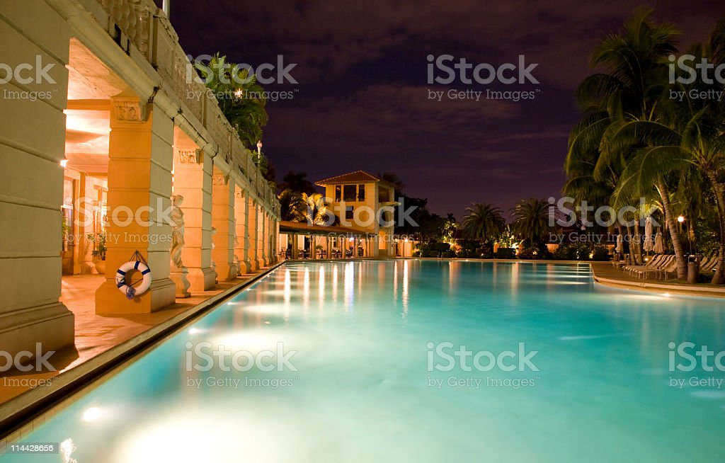 Pool and building stock photo