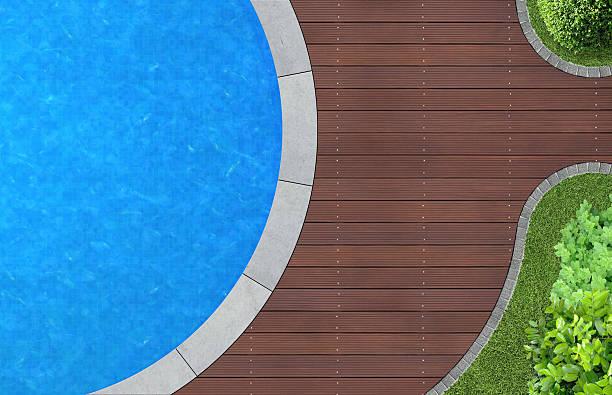 pool und garten von oben - pool rund stock-fotos und bilder