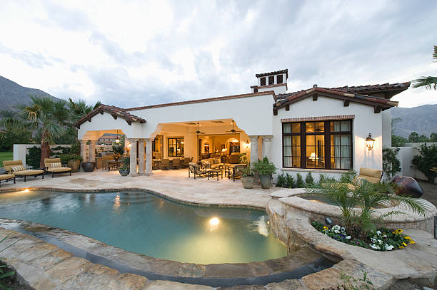Pool And Modern Home Exterior stock photo