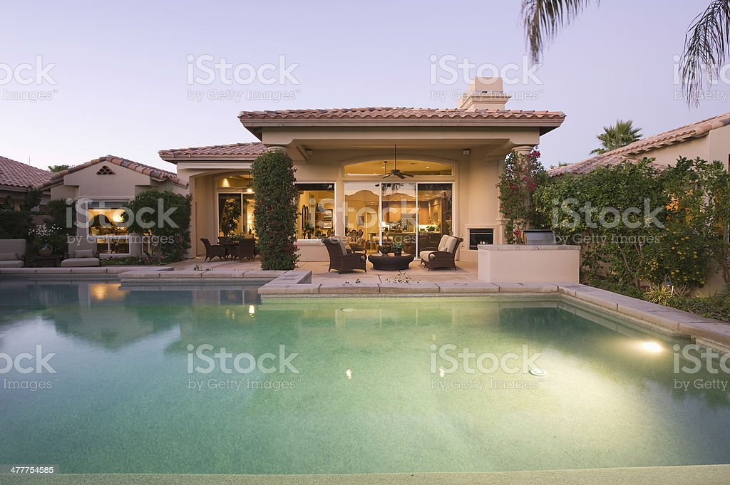 Pool And Modern House Exterior stock photo